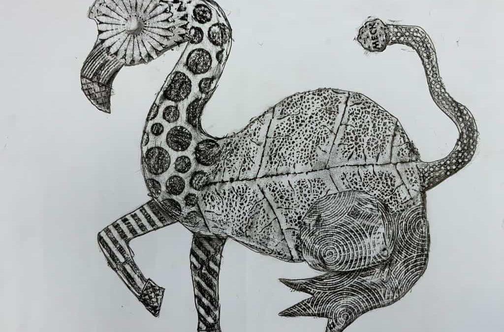 Impressionen aus dem Kunstunterricht: Frottage-Bilder